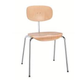 Stuhl Slim Metallgestell mit hellem Holz