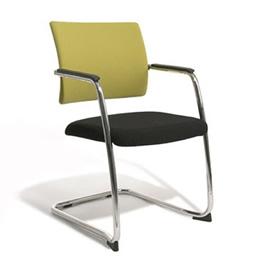 Cara Metallstuhl objektgeeignet - mit Armlehnen und schwarzer  gepolsterter Sitzfläche Rückenlehne grün