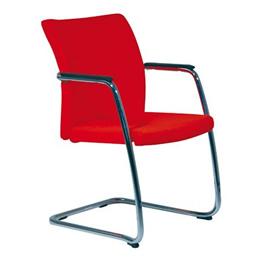 Stuhl Cara Freischwinger für Konferenzräume rote Komfortpolsterung mit Armlehnen aus Holz - Gestell verchromt