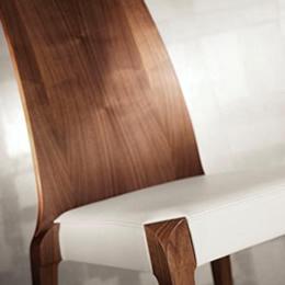 Holzstuhl Sitzfläche gepolstert mit Leder