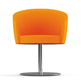 Sessel mit Metallmittelfuß und voll gepolsterter Sitzschale aus orangefarbenem Textil