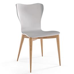 Stuhl aus Holz mit weißer geschwungener Sitzschale
